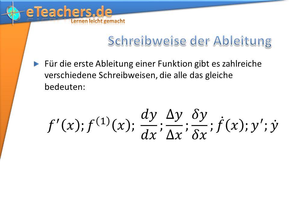 Für die erste Ableitung einer Funktion gibt es zahlreiche verschiedene Schreibweisen, die alle das gleiche bedeuten: