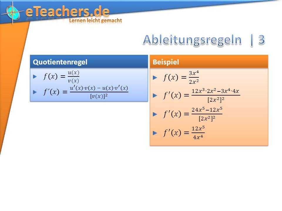 Quotientenregel Beispiel