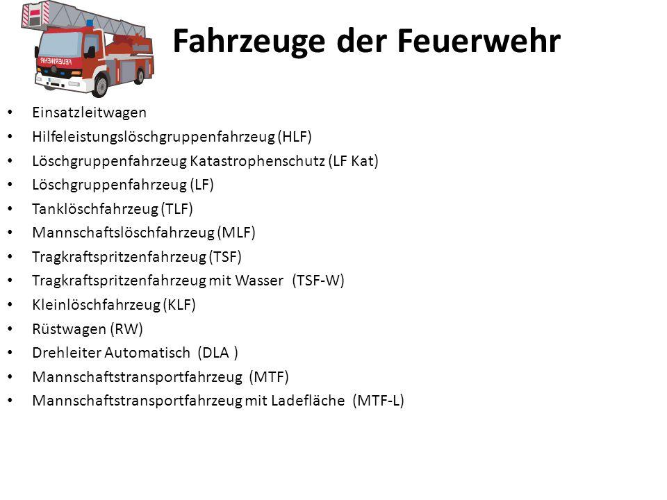Fahrzeuge der Feuerwehr Einsatzleitwagen Hilfeleistungslöschgruppenfahrzeug (HLF) Löschgruppenfahrzeug Katastrophenschutz (LF Kat) Löschgruppenfahrzeug (LF) Tanklöschfahrzeug (TLF) Mannschaftslöschfahrzeug (MLF) Tragkraftspritzenfahrzeug (TSF) Tragkraftspritzenfahrzeug mit Wasser (TSF-W) Kleinlöschfahrzeug (KLF) Rüstwagen (RW) Drehleiter Automatisch (DLA ) Mannschaftstransportfahrzeug (MTF) Mannschaftstransportfahrzeug mit Ladefläche (MTF-L)