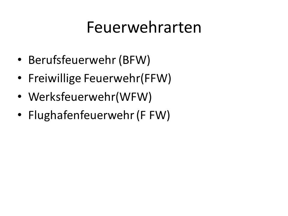 Feuerwehrarten Berufsfeuerwehr (BFW) Freiwillige Feuerwehr(FFW) Werksfeuerwehr(WFW) Flughafenfeuerwehr (F FW)