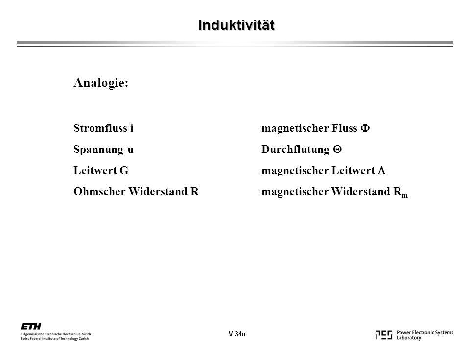 V-34a Induktivität Analogie: Stromfluss imagnetischer Fluss Spannung uDurchflutung Leitwert Gmagnetischer Leitwert Ohmscher Widerstand Rmagnetischer Widerstand R m
