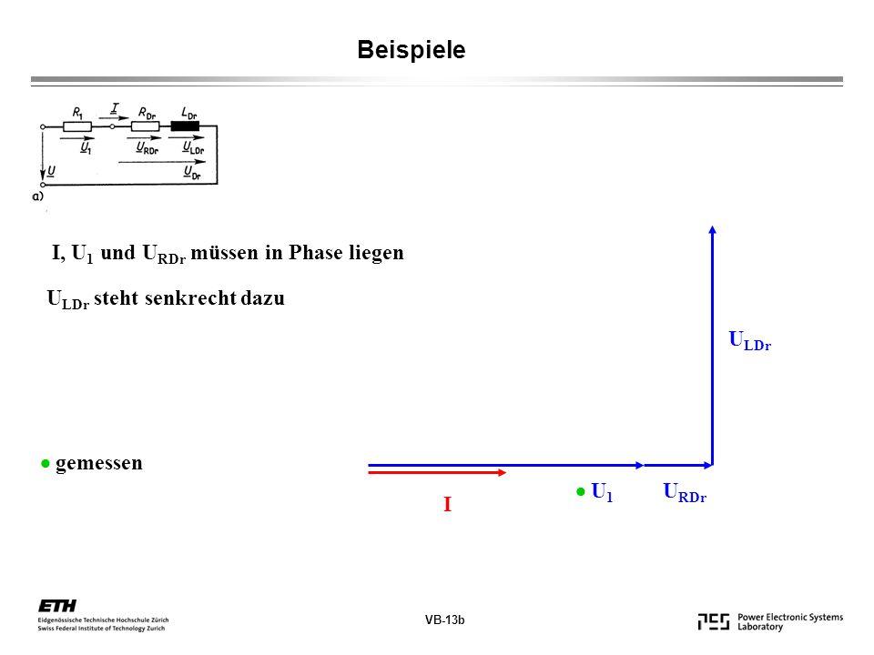 VB-13b Beispiele I, U 1 und U RDr müssen in Phase liegen U LDr steht senkrecht dazu I U 1 U RDr U LDr gemessen
