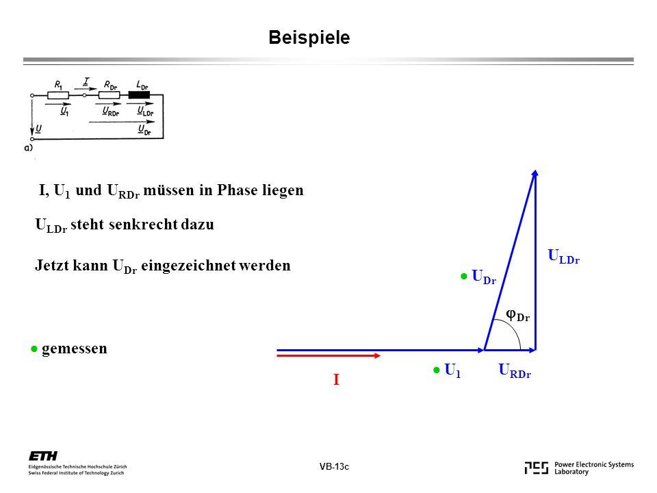VB-13c Beispiele I, U 1 und U RDr müssen in Phase liegen U LDr steht senkrecht dazu Jetzt kann U Dr eingezeichnet werden I U 1 U RDr U LDr U Dr Dr gemessen