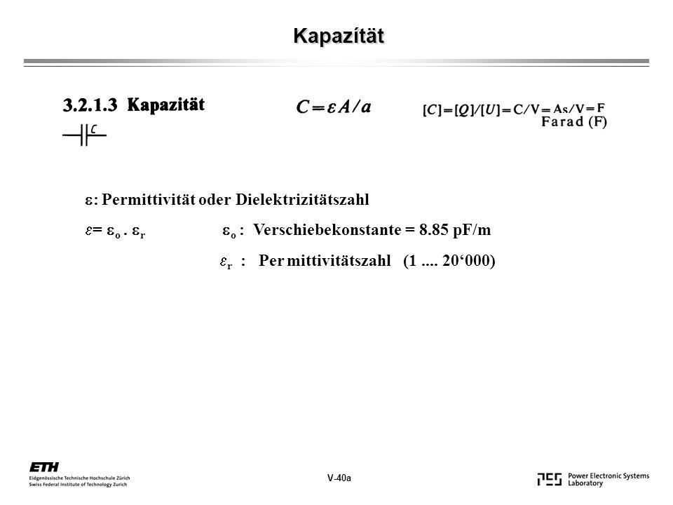 Kapazítät V-40a : Permittivität oder Dielektrizitätszahl = o.