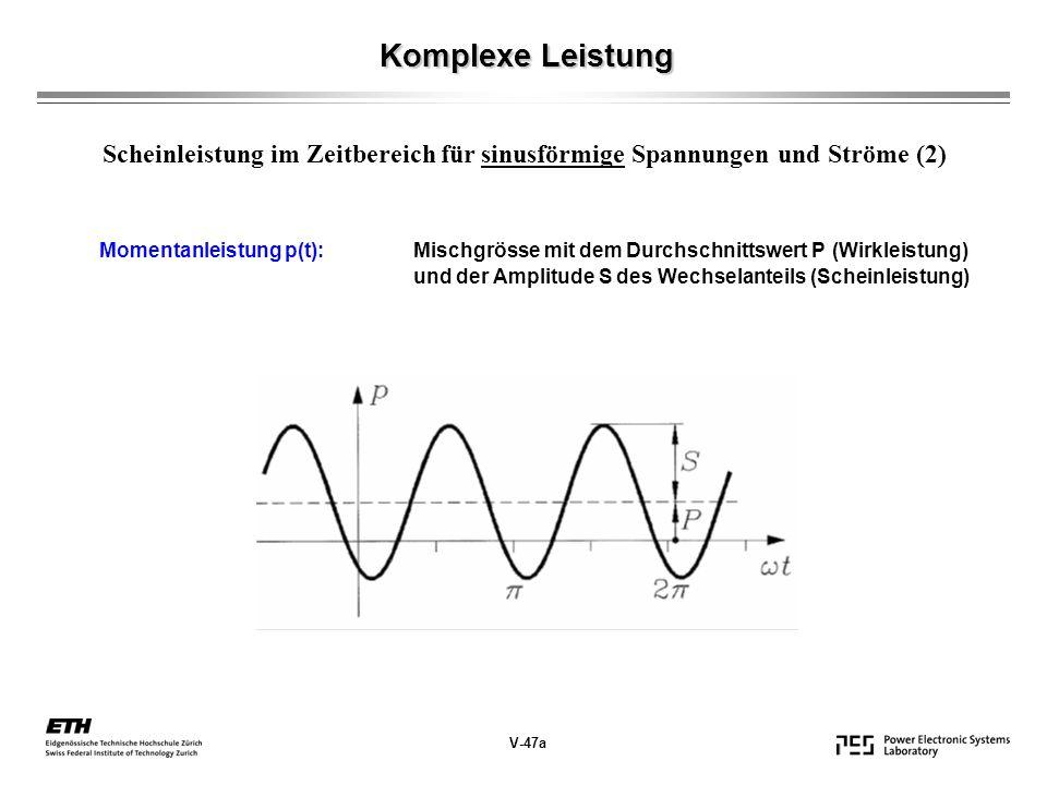 Komplexe Leistung V-47a Scheinleistung im Zeitbereich für sinusförmige Spannungen und Ströme (2) Momentanleistung p(t): Mischgrösse mit dem Durchschnittswert P (Wirkleistung) und der Amplitude S des Wechselanteils (Scheinleistung)
