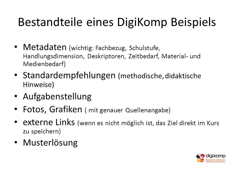 Bestandteile eines DigiKomp Beispiels Metadaten (wichtig: Fachbezug, Schulstufe, Handlungsdimension, Deskriptoren, Zeitbedarf, Material- und Medienbed
