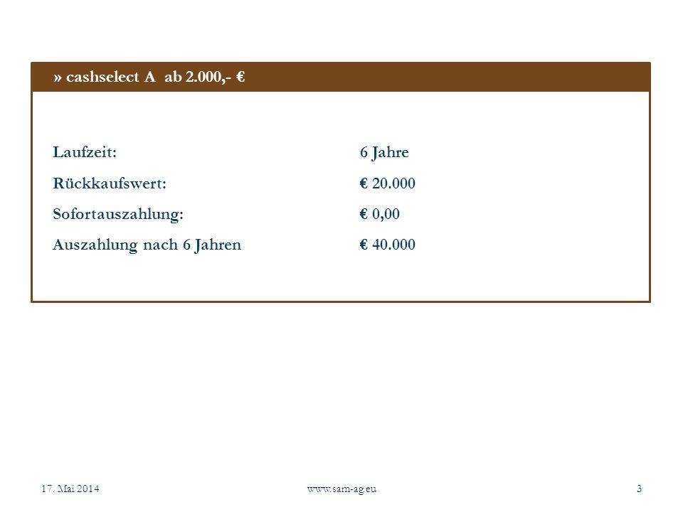 17. Mai 2014www.sam-ag.eu3 Laufzeit:6 Jahre Rückkaufswert: 20.000 Sofortauszahlung: 0,00 Auszahlung nach 6 Jahren 40.000 » cashselect A ab 2.000,-