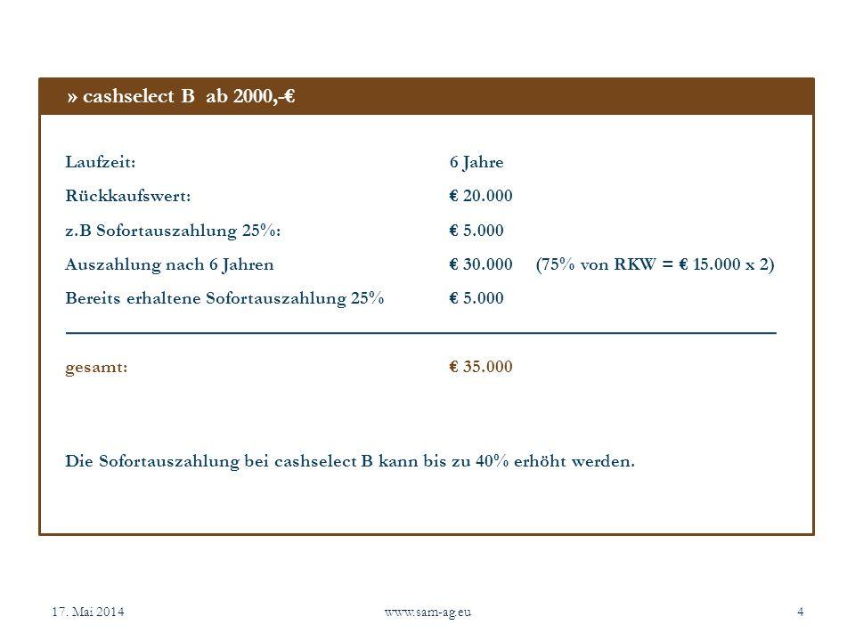 17. Mai 2014www.sam-ag.eu4 Laufzeit:6 Jahre Rückkaufswert: 20.000 z.B Sofortauszahlung 25%: 5.000 Auszahlung nach 6 Jahren 30.000(75% von RKW = 15.000