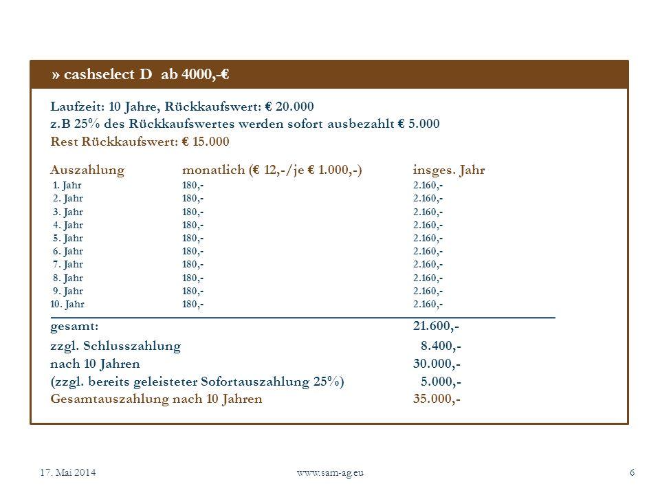 17. Mai 2014www.sam-ag.eu6 Laufzeit: 10 Jahre, Rückkaufswert: 20.000 z.B 25% des Rückkaufswertes werden sofort ausbezahlt 5.000 Rest Rückkaufswert: 15
