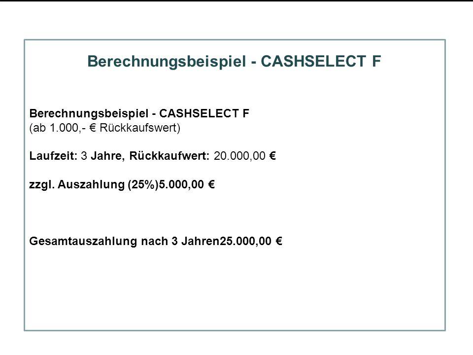 Berechnungsbeispiel - CASHSELECT F (ab 1.000,- Rückkaufswert) Laufzeit: 3 Jahre, Rückkaufwert: 20.000,00 zzgl. Auszahlung (25%)5.000,00 Gesamtauszahlu