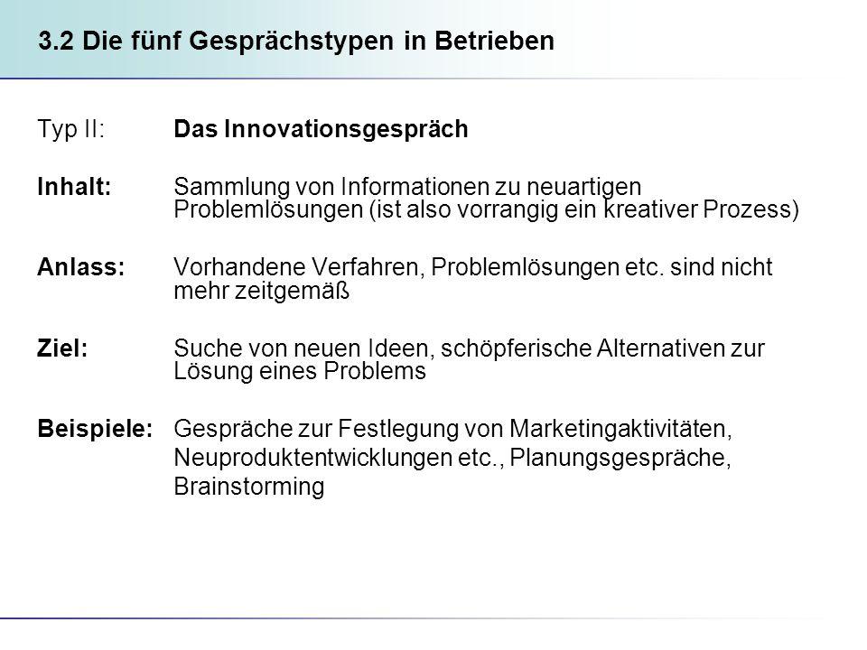 3.2 Die fünf Gesprächstypen in Betrieben Typ II: Das Innovationsgespräch Inhalt: Sammlung von Informationen zu neuartigen Problemlösungen (ist also vorrangig ein kreativer Prozess) Anlass: Vorhandene Verfahren, Problemlösungen etc.