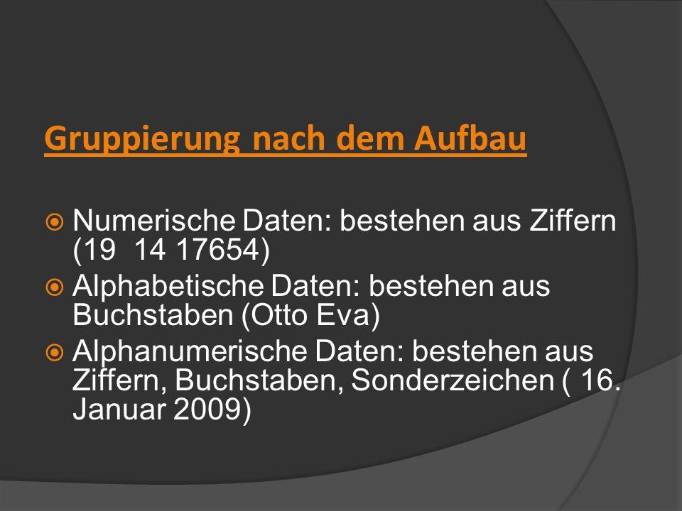 Gruppierung nach dem Aufbau Numerische Daten: bestehen aus Ziffern (19 14 17654) Alphabetische Daten: bestehen aus Buchstaben (Otto Eva) Alphanumerisc