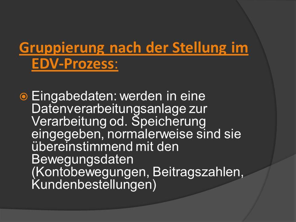 Gruppierung nach der Stellung im EDV-Prozess: Eingabedaten: werden in eine Datenverarbeitungsanlage zur Verarbeitung od. Speicherung eingegeben, norma