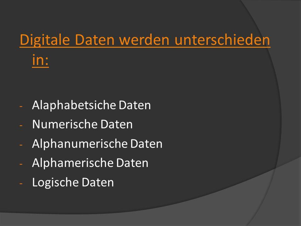 Digitale Daten werden unterschieden in: - Alaphabetsiche Daten - Numerische Daten - Alphanumerische Daten - Alphamerische Daten - Logische Daten