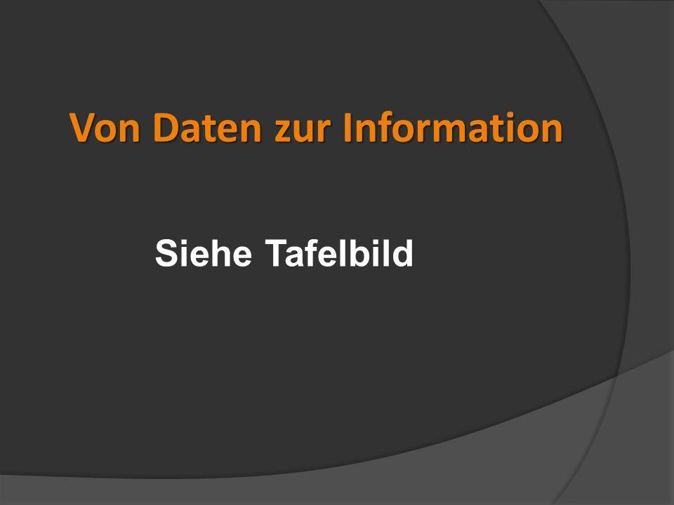 Von Daten zur Information Siehe Tafelbild