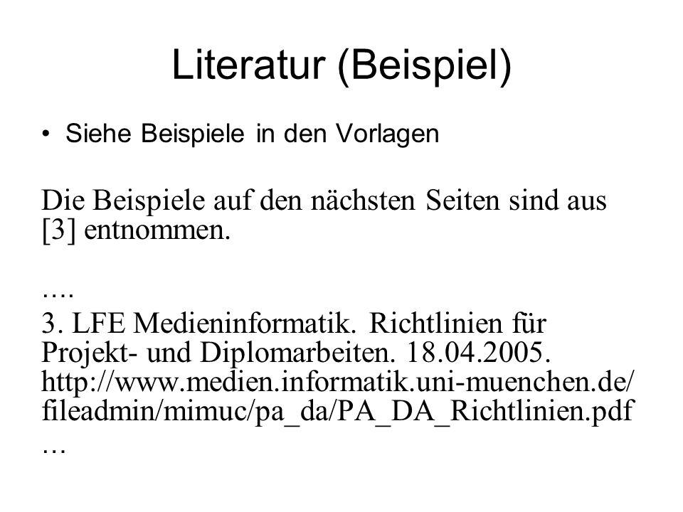 Literatur (Beispiel) Siehe Beispiele in den Vorlagen Die Beispiele auf den nächsten Seiten sind aus [3] entnommen. …. 3. LFE Medieninformatik. Richtli