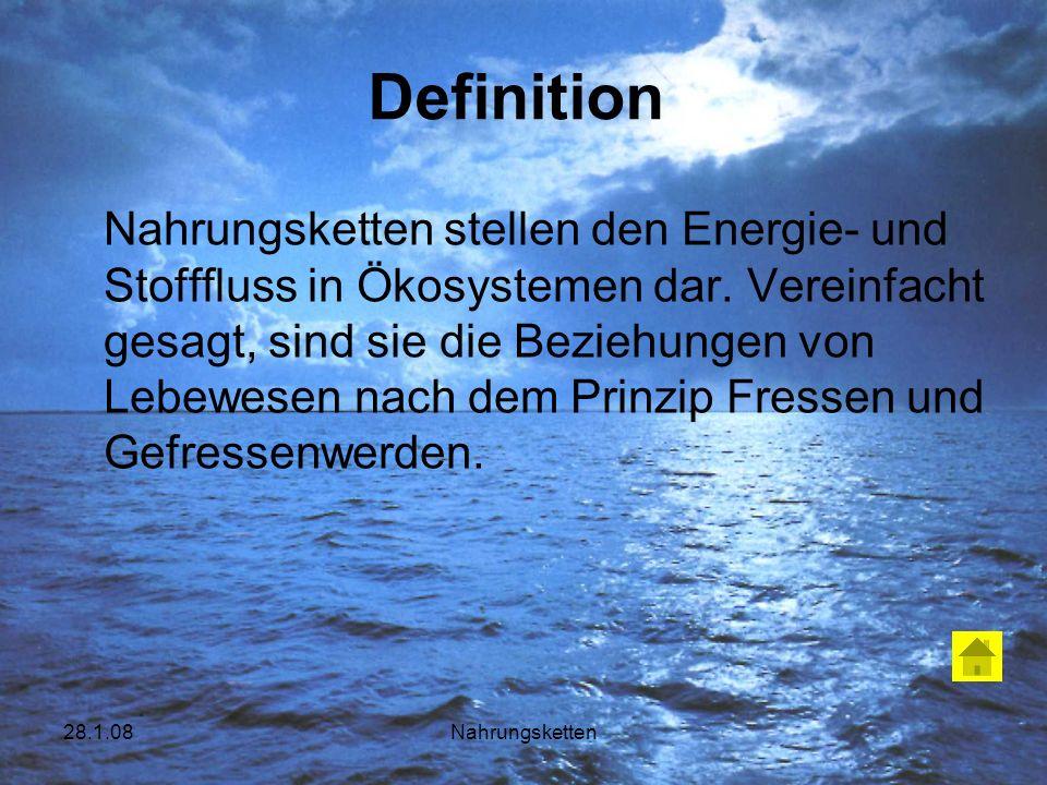 28.1.08Nahrungsketten Definition Nahrungsketten stellen den Energie- und Stofffluss in Ökosystemen dar. Vereinfacht gesagt, sind sie die Beziehungen v