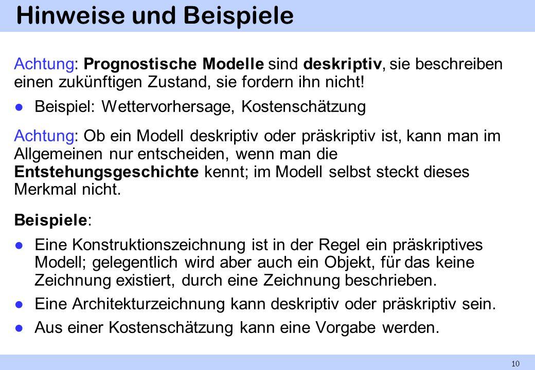 Hinweise und Beispiele Achtung: Prognostische Modelle sind deskriptiv, sie beschreiben einen zukünftigen Zustand, sie fordern ihn nicht! Beispiel: Wet