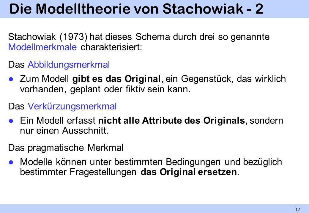 Die Modelltheorie von Stachowiak - 2 Stachowiak (1973) hat dieses Schema durch drei so genannte Modellmerkmale charakterisiert: Das Abbildungsmerkmal