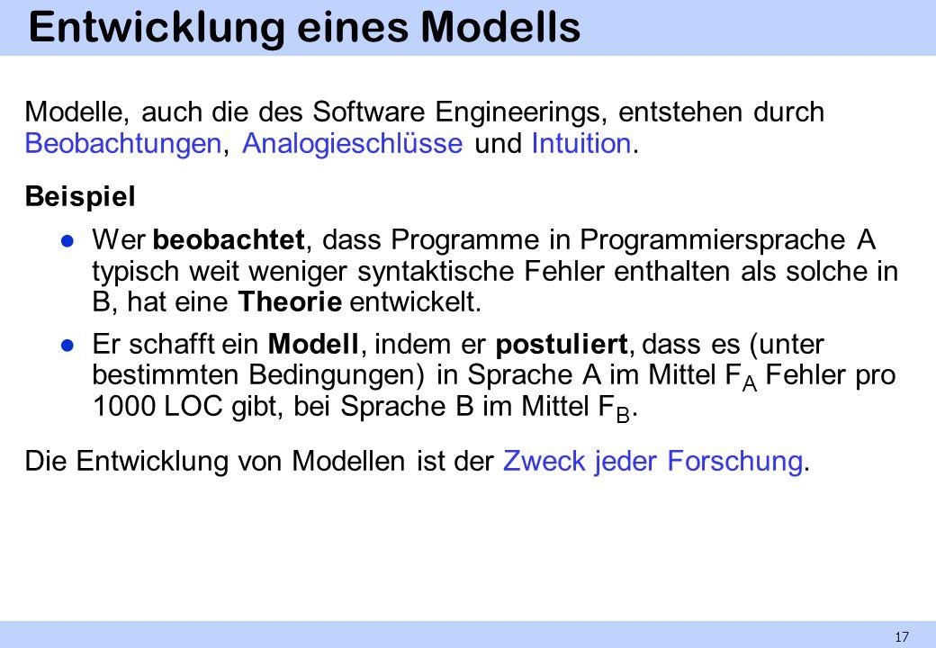 Entwicklung eines Modells Modelle, auch die des Software Engineerings, entstehen durch Beobachtungen, Analogieschlüsse und Intuition. Beispiel Wer beo