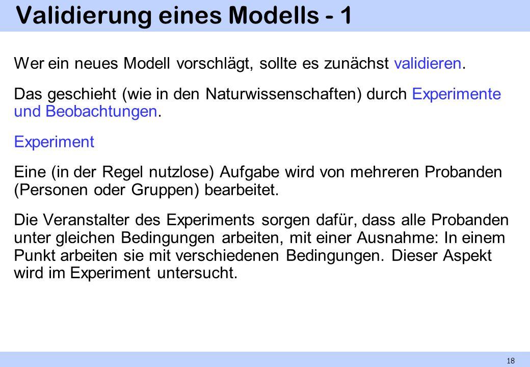 Validierung eines Modells - 1 Wer ein neues Modell vorschlägt, sollte es zunächst validieren. Das geschieht (wie in den Naturwissenschaften) durch Exp