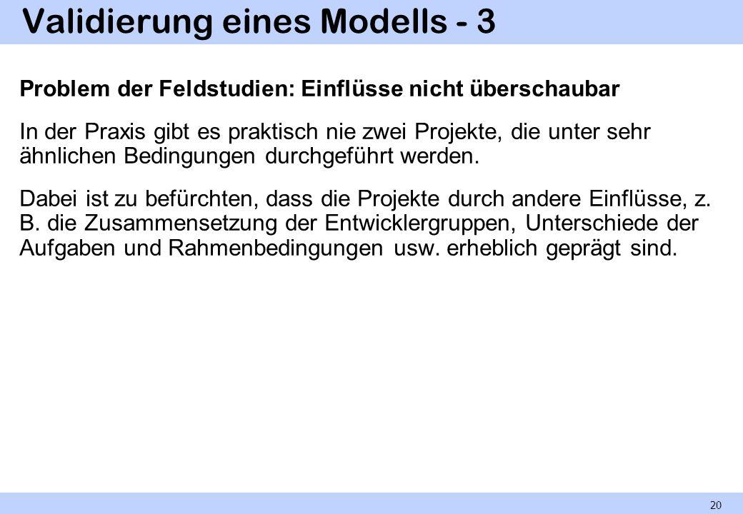 Validierung eines Modells - 3 Problem der Feldstudien: Einflüsse nicht überschaubar In der Praxis gibt es praktisch nie zwei Projekte, die unter sehr