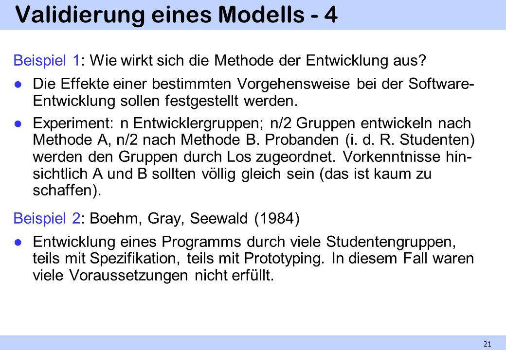 Validierung eines Modells - 4 Beispiel 1: Wie wirkt sich die Methode der Entwicklung aus? Die Effekte einer bestimmten Vorgehensweise bei der Software