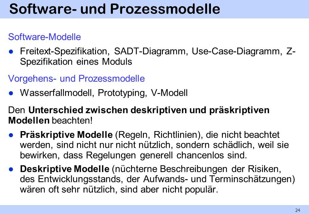 Software- und Prozessmodelle Software-Modelle Freitext-Spezifikation, SADT-Diagramm, Use-Case-Diagramm, Z- Spezifikation eines Moduls Vorgehens- und P