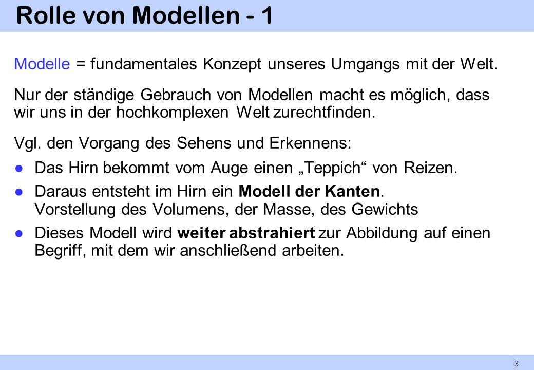 Rolle von Modellen - 1 Modelle = fundamentales Konzept unseres Umgangs mit der Welt. Nur der ständige Gebrauch von Modellen macht es möglich, dass wir