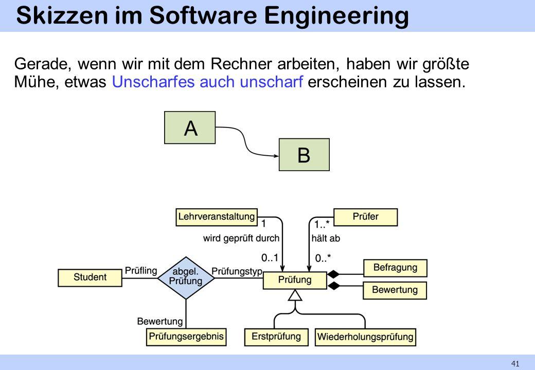 Skizzen im Software Engineering Gerade, wenn wir mit dem Rechner arbeiten, haben wir größte Mühe, etwas Unscharfes auch unscharf erscheinen zu lassen.