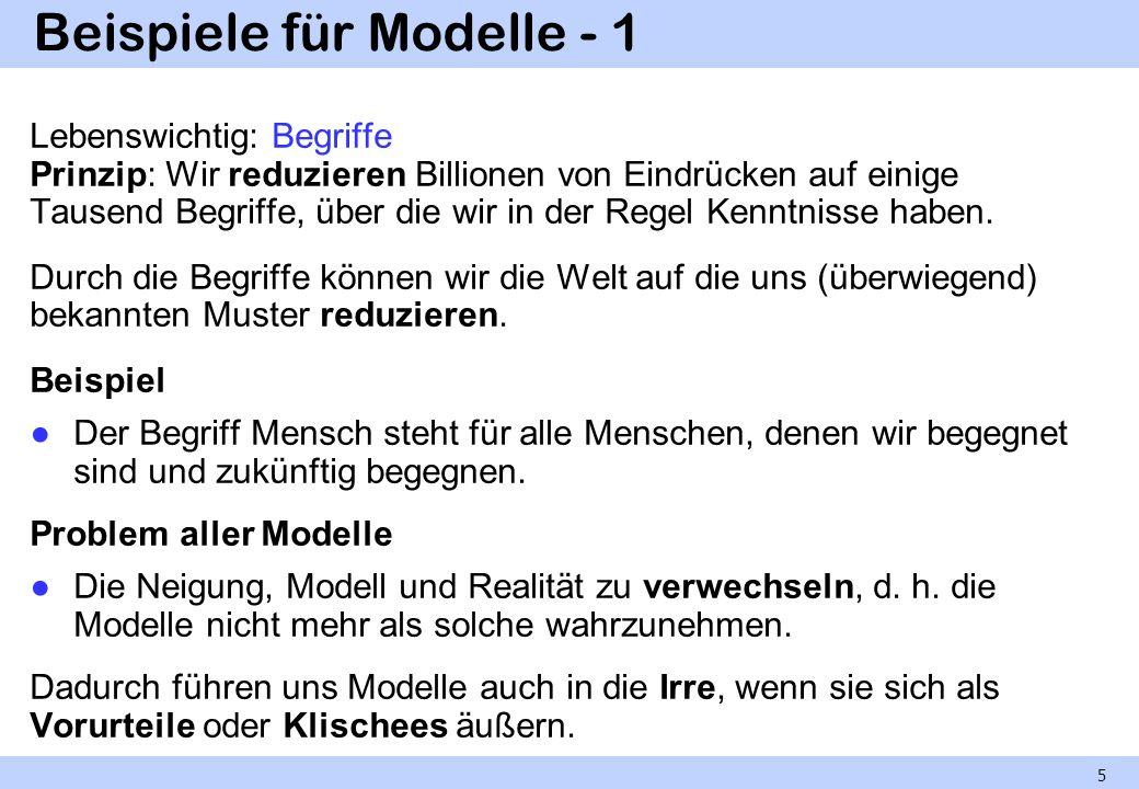 Beispiele für Modelle - 1 Lebenswichtig: Begriffe Prinzip: Wir reduzieren Billionen von Eindrücken auf einige Tausend Begriffe, über die wir in der Re