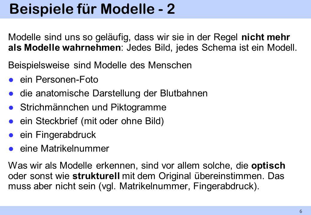 Beispiele für Modelle - 2 Modelle sind uns so geläufig, dass wir sie in der Regel nicht mehr als Modelle wahrnehmen: Jedes Bild, jedes Schema ist ein