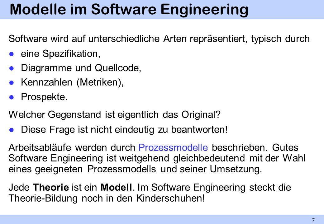 Modelle im Software Engineering Software wird auf unterschiedliche Arten repräsentiert, typisch durch eine Spezifikation, Diagramme und Quellcode, Ken
