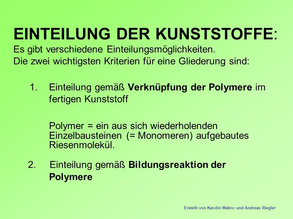 1.Einteilung gemäß Verknüpfung der Polymere im fertigen Kunststoff Polymer = ein aus sich wiederholenden Einzelbausteinen (= Monomeren) aufgebautes Ri