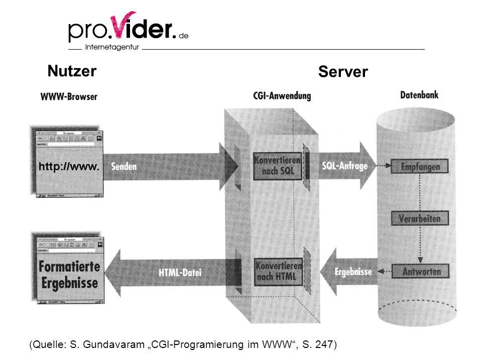 (Quelle: S. Gundavaram CGI-Programierung im WWW, S. 247) Nutzer Server