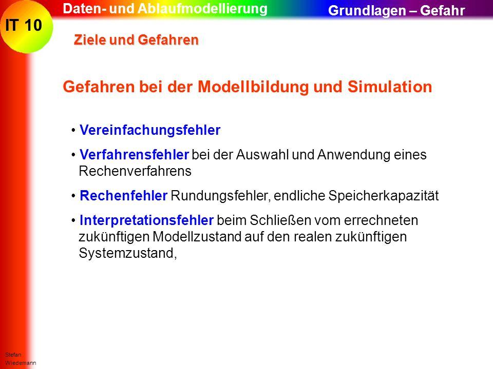 IT 10 Stefan Wiedemann Daten- und Ablaufmodellierung Ziele und Gefahren Ziele und Gefahren Gefahren bei der Modellbildung und Simulation Vereinfachung