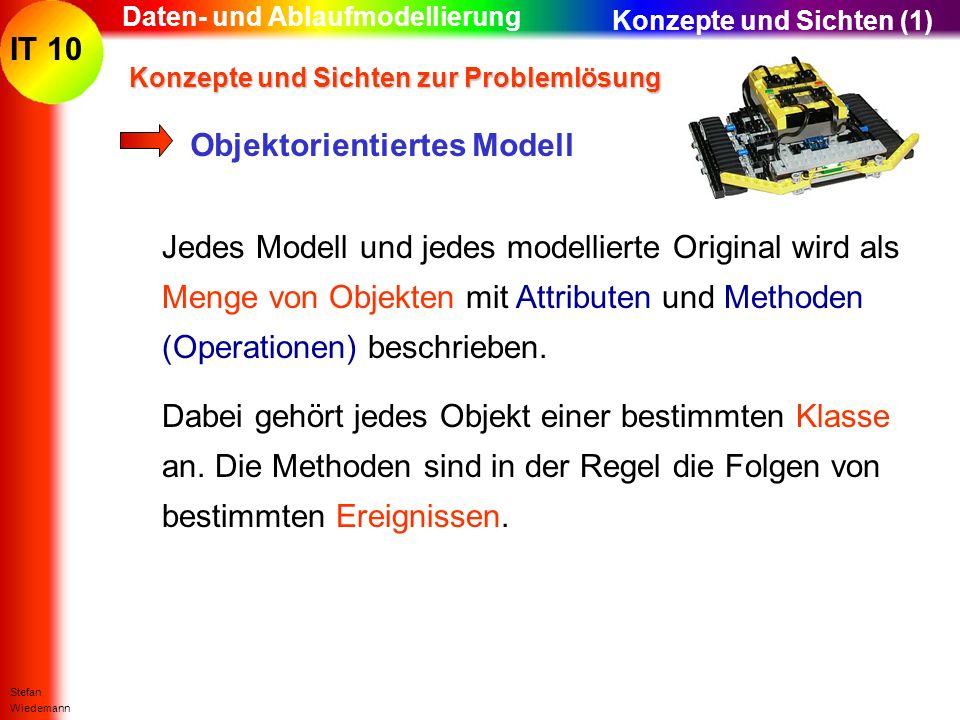 IT 10 Stefan Wiedemann Daten- und Ablaufmodellierung Jedes Modell und jedes modellierte Original wird als Menge von Objekten mit Attributen und Method