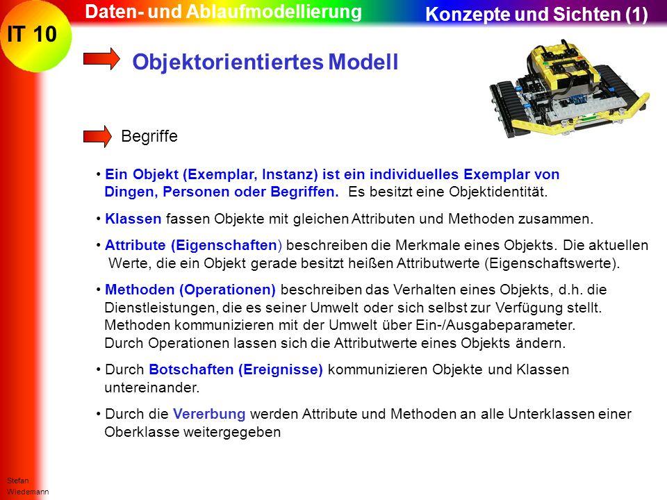 IT 10 Stefan Wiedemann Daten- und Ablaufmodellierung Begriffe Ein Objekt (Exemplar, Instanz) ist ein individuelles Exemplar von Dingen, Personen oder