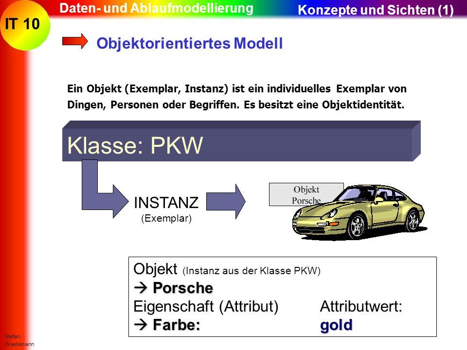 IT 10 Stefan Wiedemann Daten- und Ablaufmodellierung Objektorientiertes Modell Ein Objekt (Exemplar, Instanz) ist ein individuelles Exemplar von Dinge