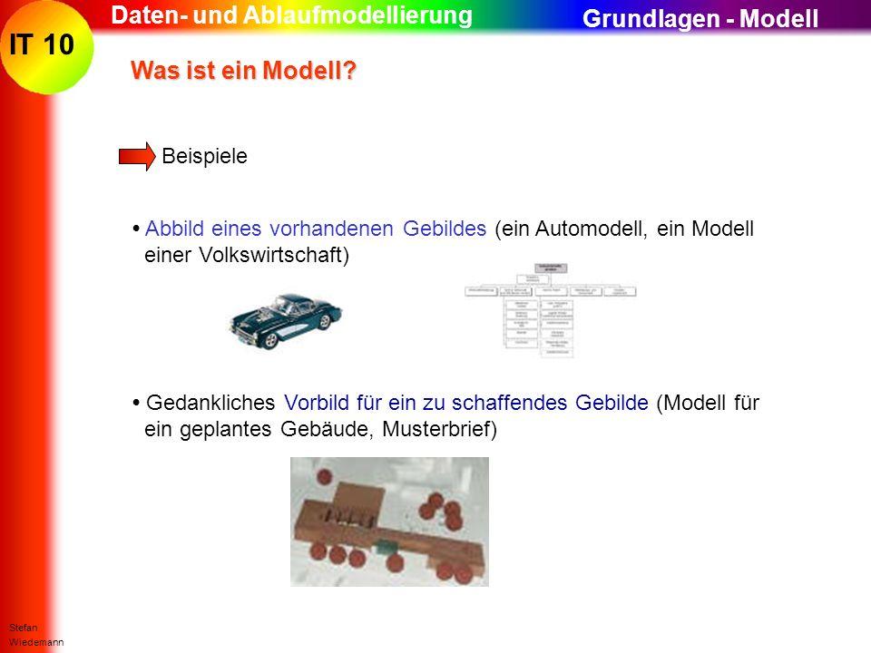 IT 10 Stefan Wiedemann Daten- und Ablaufmodellierung Beispiele Abbild eines vorhandenen Gebildes (ein Automodell, ein Modell einer Volkswirtschaft) Wa