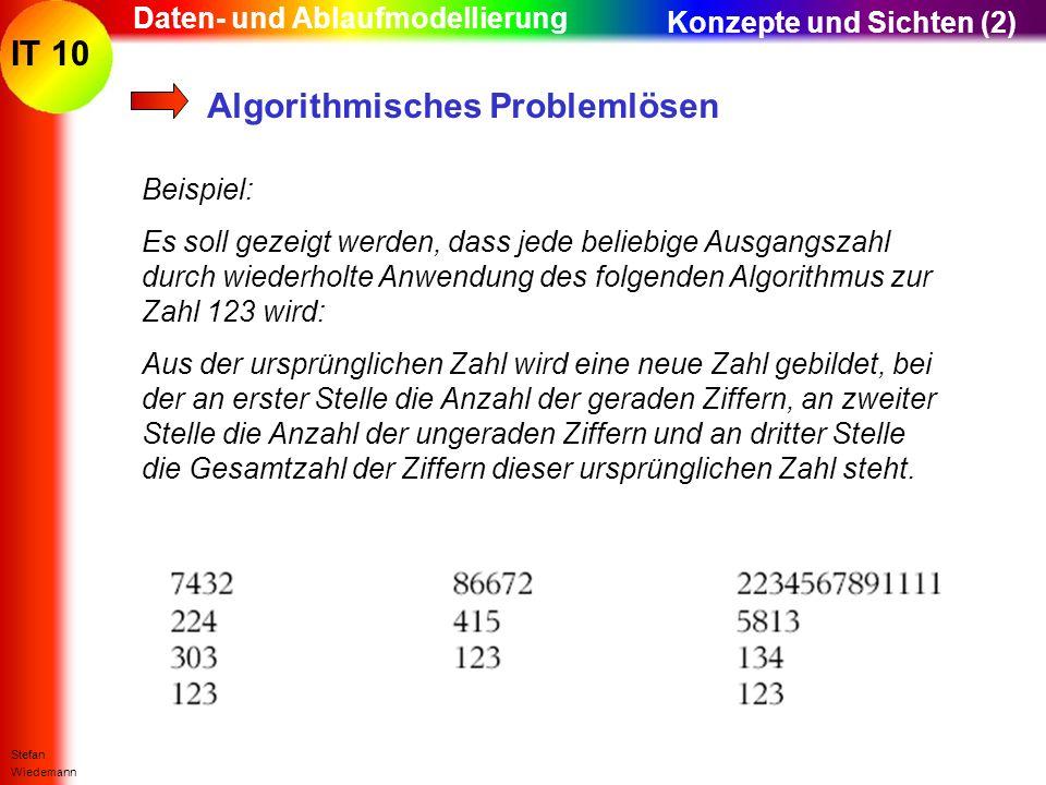 IT 10 Stefan Wiedemann Daten- und Ablaufmodellierung Algorithmisches Problemlösen Beispiel: Es soll gezeigt werden, dass jede beliebige Ausgangszahl d