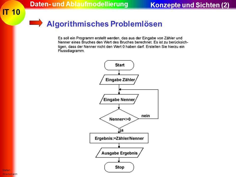 IT 10 Stefan Wiedemann Daten- und Ablaufmodellierung Algorithmisches Problemlösen Konzepte und Sichten (2)