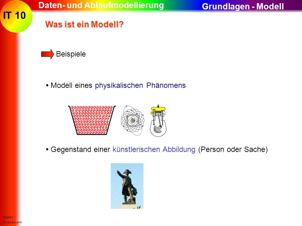 IT 10 Stefan Wiedemann Daten- und Ablaufmodellierung Was ist ein Modell? Was ist ein Modell? Beispiele Modell eines physikalischen Phänomens Grundlage