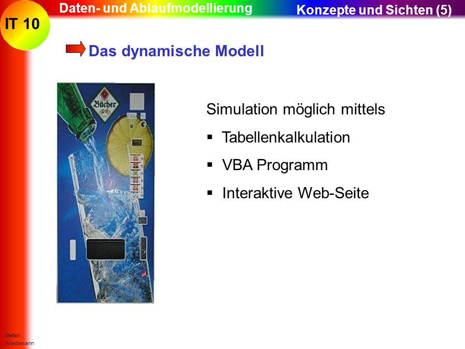 IT 10 Stefan Wiedemann Daten- und Ablaufmodellierung Das dynamische Modell Konzepte und Sichten (5) Simulation möglich mittels Tabellenkalkulation VBA