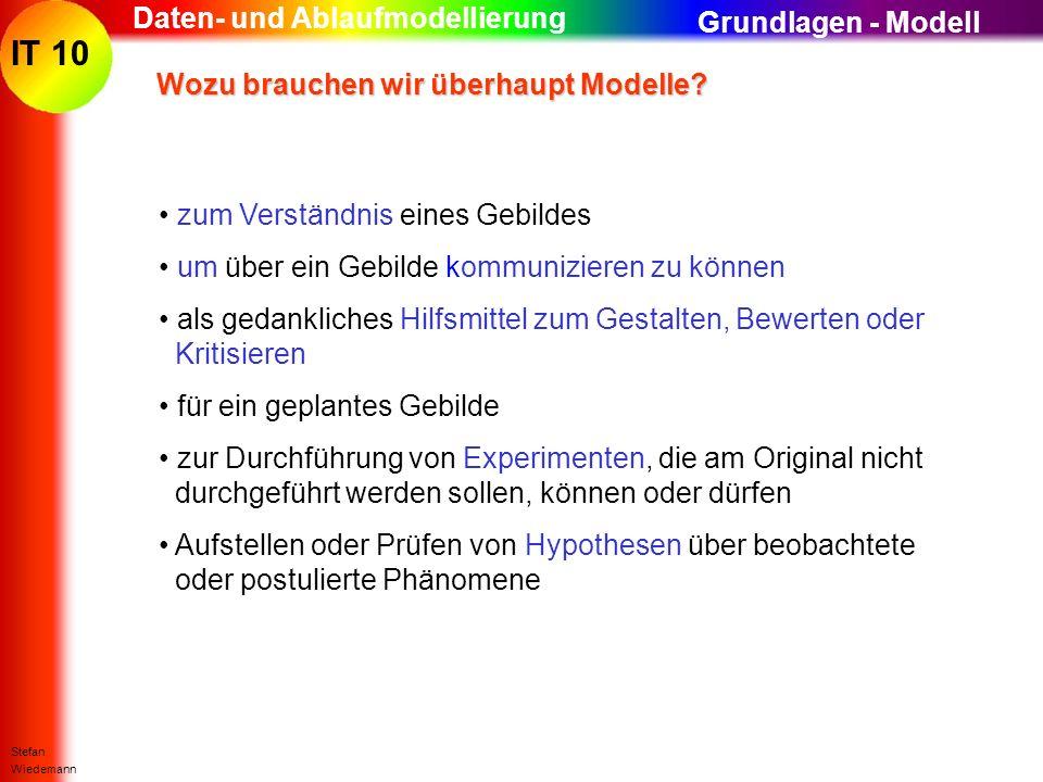 IT 10 Stefan Wiedemann Daten- und Ablaufmodellierung Wozu brauchen wir überhaupt Modelle? Wozu brauchen wir überhaupt Modelle? zum Verständnis eines G