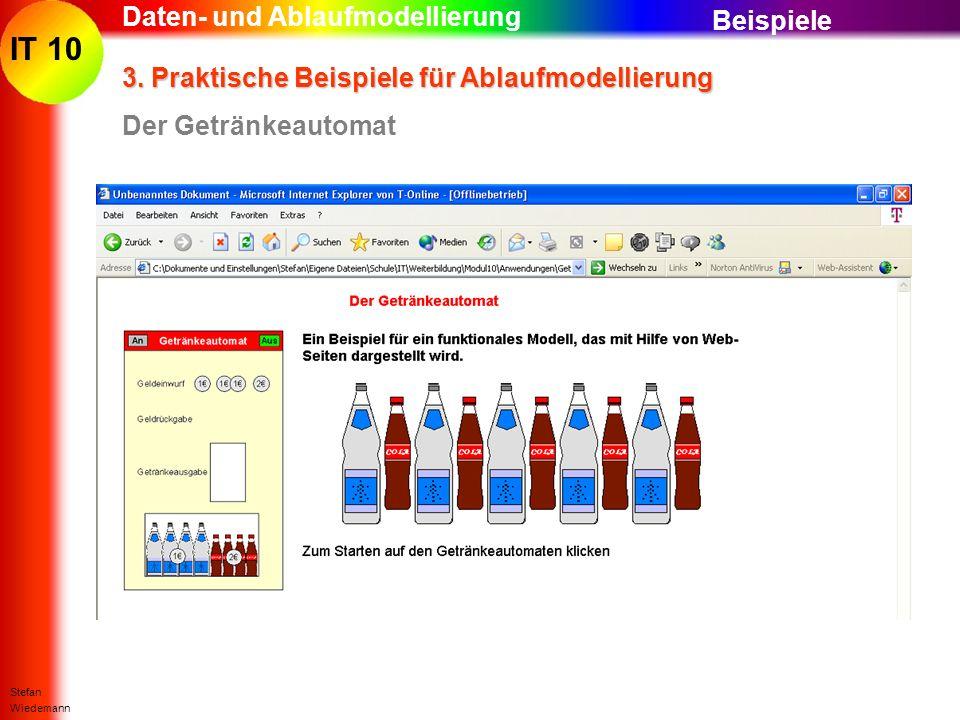 IT 10 Stefan Wiedemann Daten- und Ablaufmodellierung 3. Praktische Beispiele für Ablaufmodellierung Der Getränkeautomat Beispiele