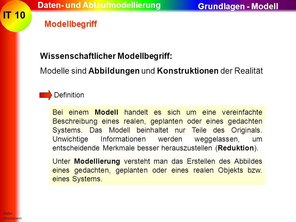 IT 10 Stefan Wiedemann Daten- und Ablaufmodellierung Modellbegriff Modellbegriff Definition Bei einem Modell handelt es sich um eine vereinfachte Besc
