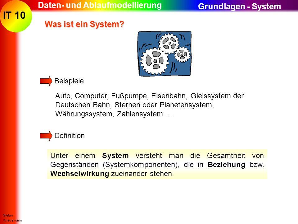 IT 10 Stefan Wiedemann Daten- und Ablaufmodellierung Was ist ein System? Was ist ein System? Beispiele Definition Unter einem System versteht man die