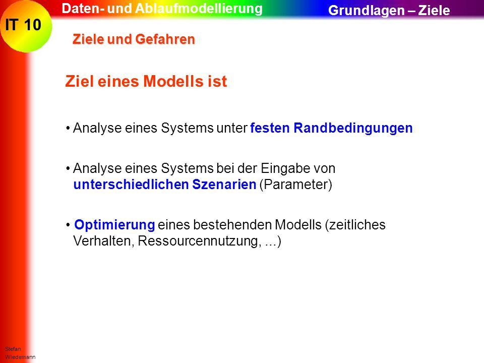 IT 10 Stefan Wiedemann Daten- und Ablaufmodellierung Ziele und Gefahren Ziele und Gefahren Ziel eines Modells ist Analyse eines Systems unter festen R