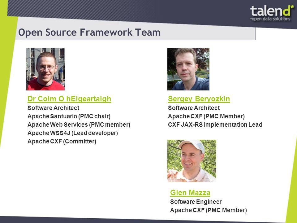 Open Source Framework Team Martin Krasser Software Architect Apache Camel (Committer) Akka (Committer) Scalaz-Camel (Founder, Committer) Open eHealth Integration Platform (Founder, Committer) … Christian Schneider Software Architect Apache CXF (PMC Member) Apache Camel (PMC Member)